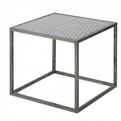 Table carree metal impression triangles finition NOHO