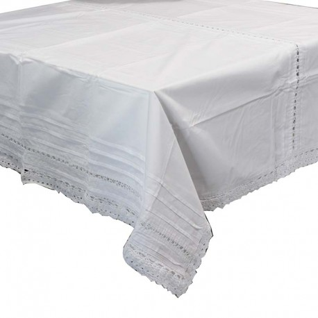 Nappe rectangle coton blanc et crochet Grand modèle - Drap de table