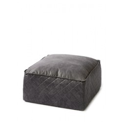 Pouf imitation cuir anthracite