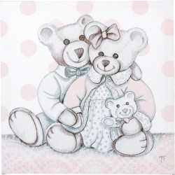 Toile sur chassis Amours d'oursons roses 28 x 28cm