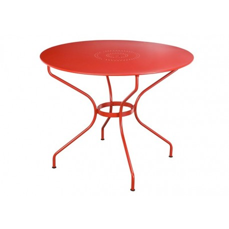 Table metal rouge