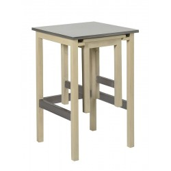 Table-tabouret 2 en 1   bois/metal